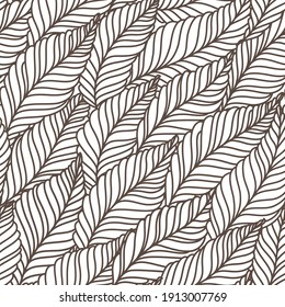 seamless black and white abstract background with leaves drawn by thin lines