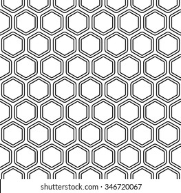 Seamless black and white abstract hexagon pattern background