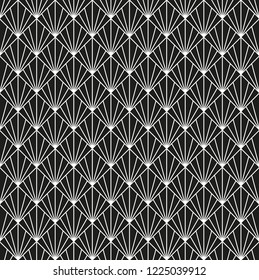 Seamless black and white Art Deco fan pattern background.