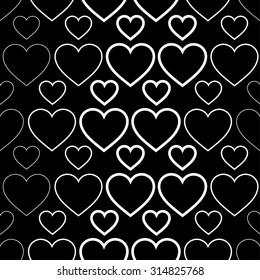 Seamless black and white background with decorative hearts