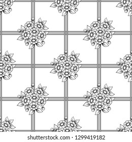 Seamless black and white background with flowers and grid. Daisy bouquets outline wallpaper