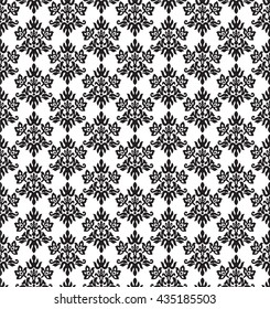 Seamless black and white charcoal small floral elements wallpaper. This image is a vector illustration.