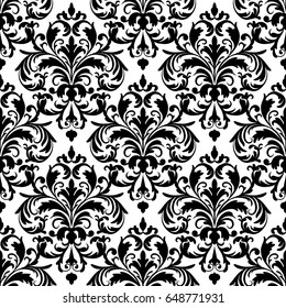 Seamless black and white classic wallpaper pattern.