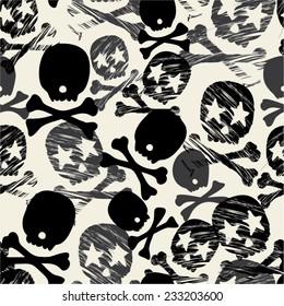 Seamless Black, White & Cream Star Skull Print - Repeating Background & Wallpaper