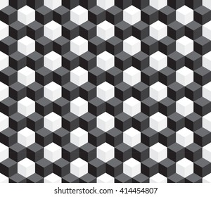 seamless black and white cube, vector illustration