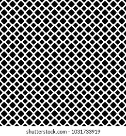 Seamless black and white diagonal square grid patter background - vector graphic design from rounded squares