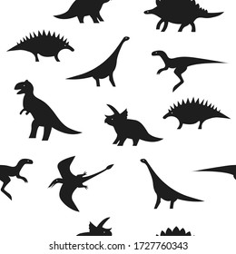 Seamless black and white dino pattern. Dinosaur silhouettes on white background for textile, print, fabric or paper wrapping