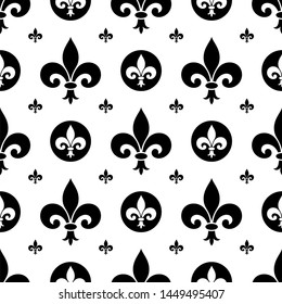 Seamless Black and white Fleur-de-lis symbols as vector. On a white isolated background. Seamless Lily symbols in exact shape design useable for wallpaper, backgrounds and all Heraldic requirements.