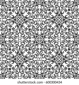 Seamless black and white floral damask vector background. Repeating wallpaper pattern.