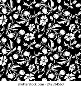 Seamless Floral Ornate Pattern Black White Stock Vector Royalty