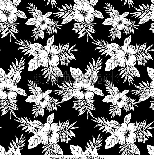 Seamless Black White Floral Wallpaper Stock Vector Royalty Free