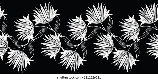 Seamless black and white flower border