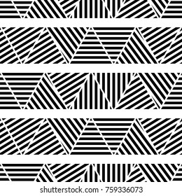 Seamless black and white geometric pattern. The texture of the stripes. Textile rapport.