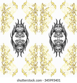 Seamless black, white and golden pattern. Ethnic henna hand drawn background for coloring book, textile or wrapping.
