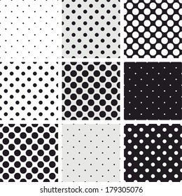 Seamless black, white and grey vector pattern or background set with big and small polka dots. For desktop wallpaper and website design.