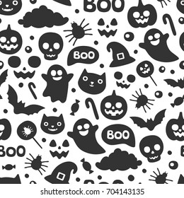 Seamless black and white Halloween pattern. Cute pumpking, ghost, cat, spider, hat, skull