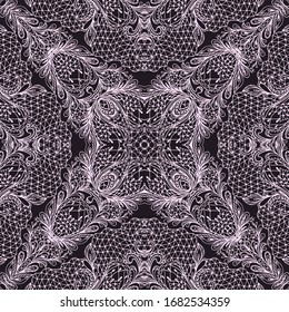 Seamless black and white lace delicate pattern. Traditional ethnic ornament, vector background.