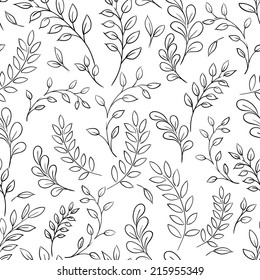 Seamless black and white leaf vector background