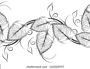 Seamless black and white leaves border