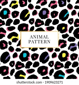 seamless black and white leopard pattern print for textile t-shirt vector