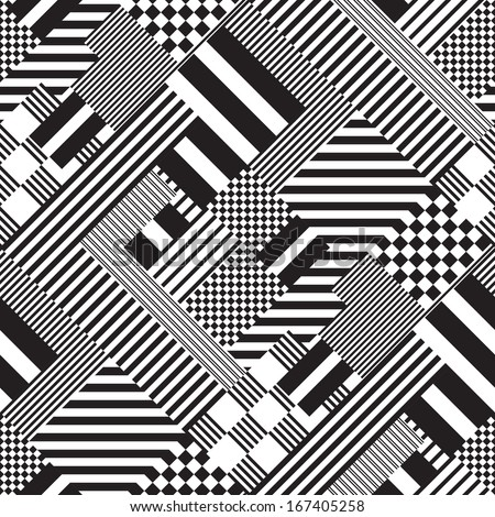 Seamless Black White Lines Pattern Abstract Stock Vektorgrafik
