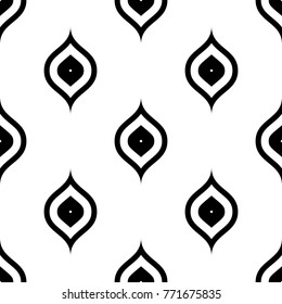 Seamless black and white ogee vintage peacock textile pattern vector