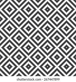 Seamless black and white op art ethnic pixel tribal textile pattern vector