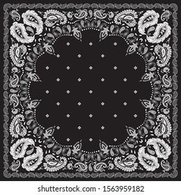 seamless black and white Paisley Bandanna pattern