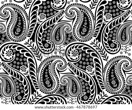 Seamless Black White Paisley Pattern Stock Vector Royalty Free