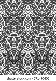 SEAMLESS BLACK WHITE PAISLEY WALLPAPER