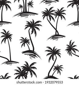 seamless Black and White Palm Tree Pattern on white