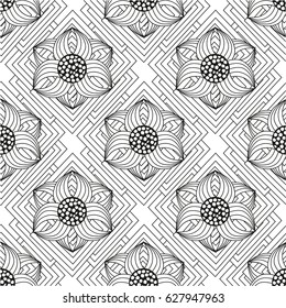 Seamless black and white pattern for adult coloring book. Floral elements for zentangle-style meditation. Good for design of wrapping and textile.