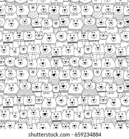 Seamless black and white pattern with bears with different emotion. Vector illustration.