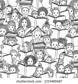 "Seamless black and white pattern of children reading books, ""back to school"" vector background with diverse school kids"
