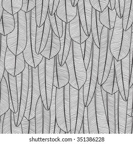 Seamless black and white pattern. Endless texture with feathers. Can be used for wallpaper, web page background, postcard, poster, invitation, textile design, cover, banner, sticker, wrapping paper.