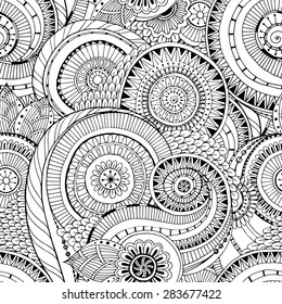 Seamless black and white pattern with flowers. Ornate zentangle texturewith abstract flowers. Seamless pattern can be used for wallpaper, pattern fills, web page background, surface textures.