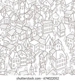 Seamless Black and White Pattern with Funny Cartoon City. Vector Illustration in Doodle Style
