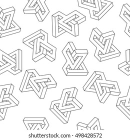 Seamless black and white pattern with geometric minimalistic isolated objects
