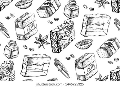 Seamless black and white pattern with hand made soap drawing. Wallpaper with soap, orange, cinnamon sticks, coffee beans, oil, star anise. Vector sketch texture for fabrics and your design.