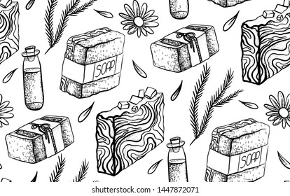Seamless black and white pattern with hand made soap drawing. Soap making. Wallpaper with soap, juniper, calendula, oil, petal. Vector sketch texture for fabrics, background and your design.