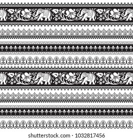 Seamless black and white pattern with included pattern brushes. Ethic Southeast Asia style.