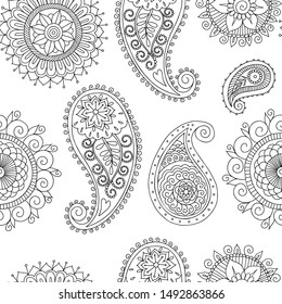 seamless black and white pattern in indian style
