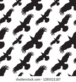 Seamless black and white pattern with raven