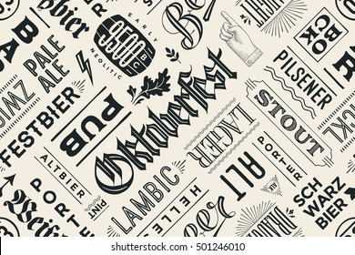 Seamless black and white pattern with types of beer and hand drawn lettering for Oktoberfest Beer Festival. Vintage drawing for placemat, bar menu, t-shirt print and beer themes. Vector Illustration