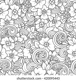 Seamless black and white pattern in a zentangle style.