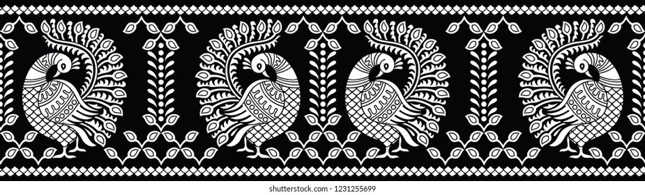 Seamless black and white peacock border