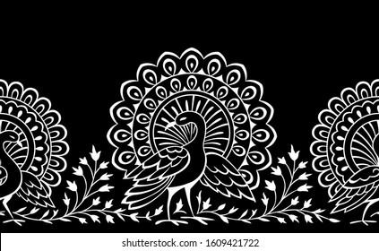 Seamless black and white peacock border design