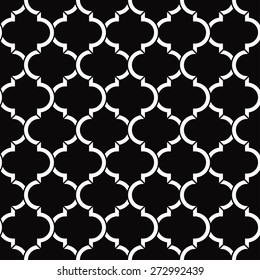 seamless black and white quatrefoil vector pattern.