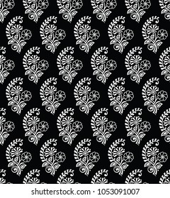 Seamless black and white small floral pattern