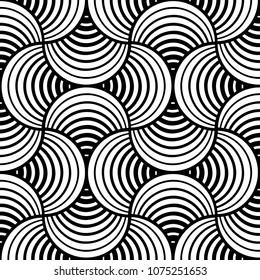 Seamless Black And White Stiped Petals Black Background Two-Tone Vector Pattern